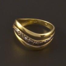 Zlatý prsten žluto bílá kombinace 3946