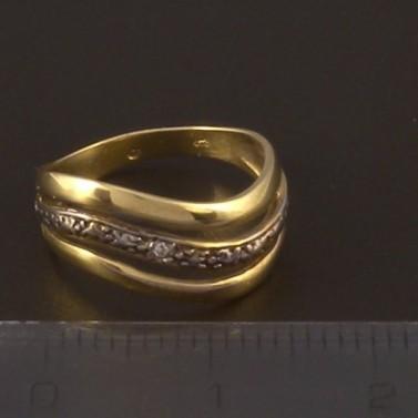 Zlatý prsten žluto bílá kombinace 3946 č.2