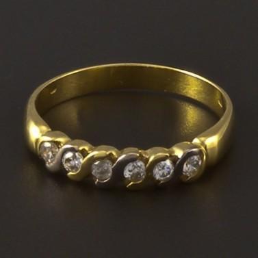Zlatý prsten se zirkony v jedné řadě 3958 č.1