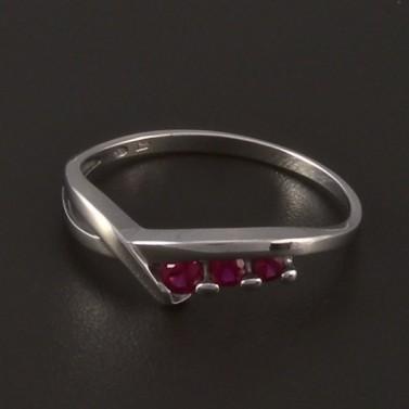 Jednoduchý prsten bílé zlato červený rubín 3972 č.1