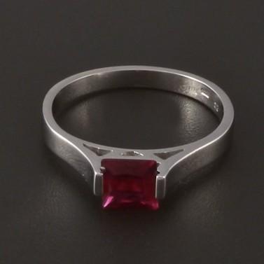 Jednoduchý prsten z bílého zlata s rubínem 3994 č.1