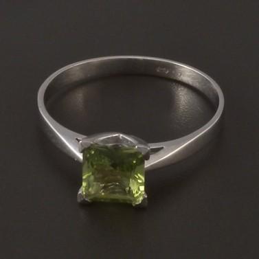 Prsten bílé zlato zelený turmalín 3995 č.1