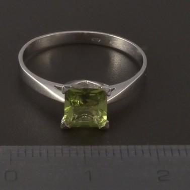 Prsten bílé zlato zelený turmalín 3995 č.2