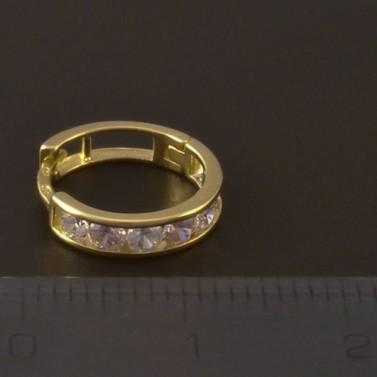 Zlaté dětské náušnice kroužky růžovobílé 4004 č.3