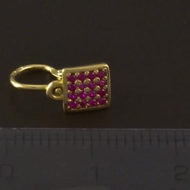 Zlaté dětské náušnice čtverce rubín 4095 č.3