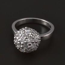 Stříbrný prsten zirkonová půlkoule 4103