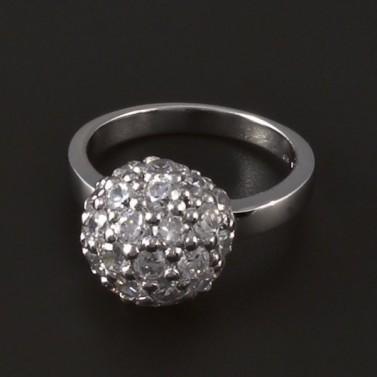 Stříbrný prsten zirkonová půlkoule 4103 č.1