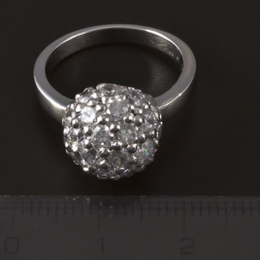 Stříbrný prsten zirkonová půlkoule 4103 č.2