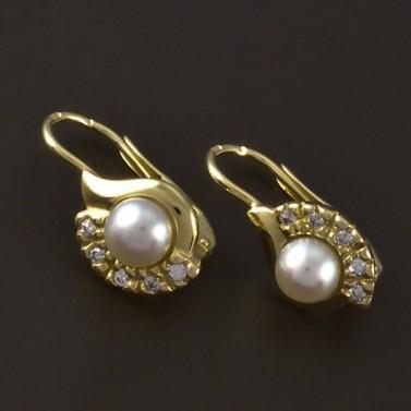 Zlaté náušnice se zirkonem a perlou 4134 č.1