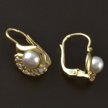 Zlaté náušnice se zirkonem a perlou 4134 č.2