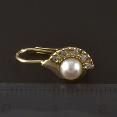Zlaté náušnice se zirkonem a perlou 4134 č.3