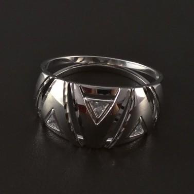 Masivní prsten bílé zlato osazen zirkony 4192 č.1