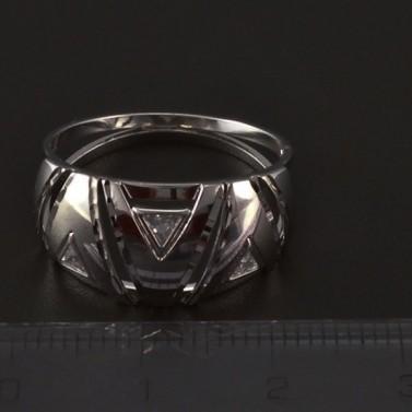 Masivní prsten bílé zlato osazen zirkony 4192 č.2