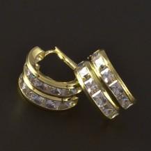 Zlaté náušnice čtvercové zirkony 4226