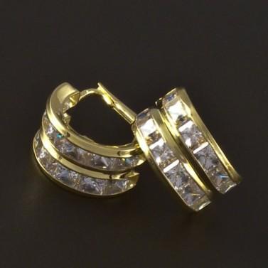 Zlaté náušnice čtvercové zirkony 4226 č.1