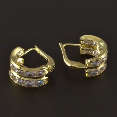 Zlaté náušnice čtvercové zirkony 4226 č.2