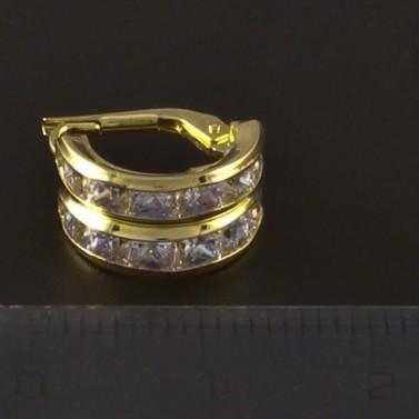 Zlaté náušnice čtvercové zirkony 4226 č.3