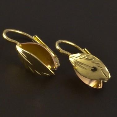 Zlaté náušnice lístky s rytinou 4295 č.1