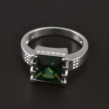 Stříbrný masivní prsten zelený zirkon 4334 č.1