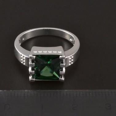 Stříbrný masivní prsten zelený zirkon 4334 č.2