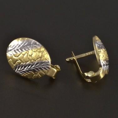 Zlaté náušnice mat a lesk 4372 č.2