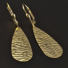 Zlaté náušnice visací tepaná úprava 4401