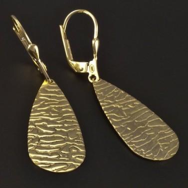 Zlaté náušnice visací tepaná úprava 4401 č.2