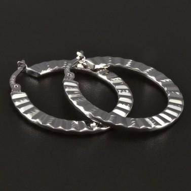Ploché náušnice kruhy bílé zlato 4405 č.1