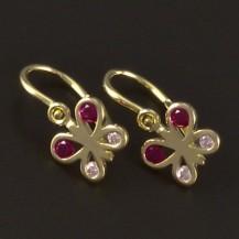 Zlaté dětské náušnice růžový motýlek 4445