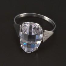 Prsten z bílého zlata broušený zirkon 4447