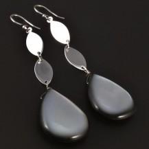 Stříbrné visací náušnice s perletí 4456