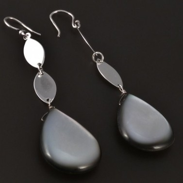 Stříbrné visací náušnice s perletí 4456 č.2