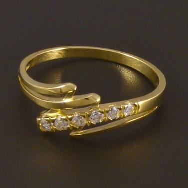 Zlatý prsten se šesti zirkony 4497 č.1