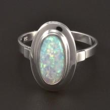 Prsten z bílého zlata s opálem 4508