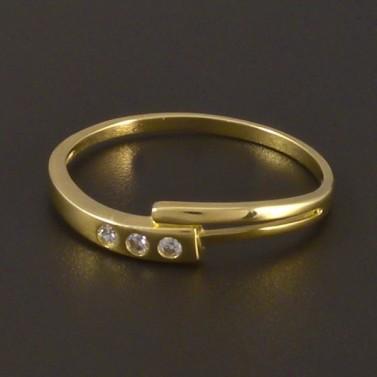 Jednoduchý zlatý prsten se zirkony 4510 č.1