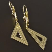 Zlaté náušnice tvar trojúhelník 4549