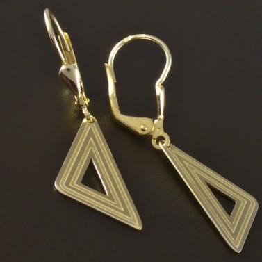 Zlaté náušnice tvar trojúhelník 4549 č.2