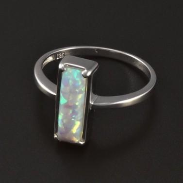 Stříbrný prsten obdélníkový opál 4597 č.1