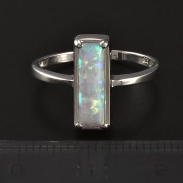 Stříbrný prsten obdélníkový opál 4597 č.2