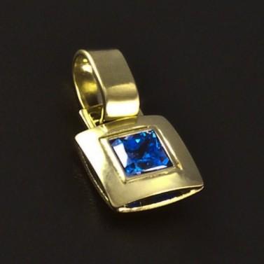 Zlatý přívěsek s modrým spinelem 4604 č.1