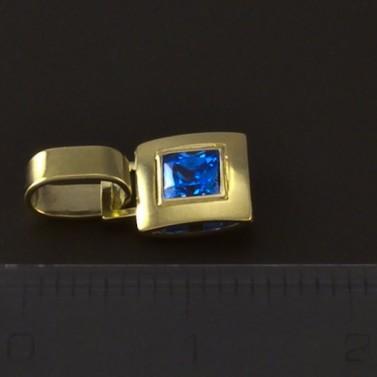 Zlatý přívěsek s modrým spinelem 4604 č.2