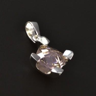Stříbrný přívěsek světle růžový zirkon 4605 č.1