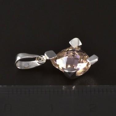 Stříbrný přívěsek světle růžový zirkon 4605 č.2