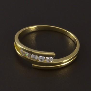 Zlatý jemný prsten se zirkony 4636 č.1