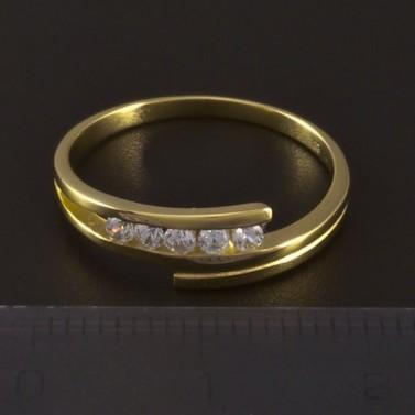 Zlatý jemný prsten se zirkony 4636 č.3