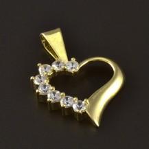 Zlatý přívěsek srdíčko se zirkony 4645