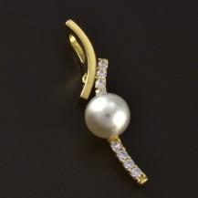 Zlatý jednoduchý přívěsek s perlou 4656