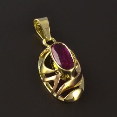 Zlatý přívěsek rubín oválný tvar 4673 č.1