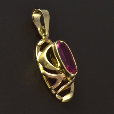 Zlatý přívěsek rubín oválný tvar 4673 č.2
