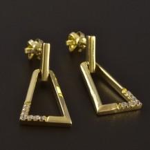 Zlaté lichoběžníkové náušnice 4676